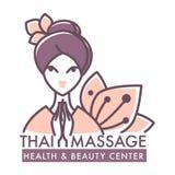 Cartel de centro tailandés del salón de la salud y de belleza del masaje stock de ilustración