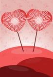 Cartel de dos corazones Foto de archivo