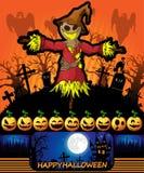 Cartel de Halloween con el espantapájaros Ilustración del vector Fotos de archivo libres de regalías