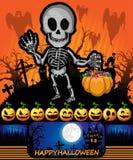 Cartel de Halloween con el esqueleto Ilustración del vector Fotografía de archivo