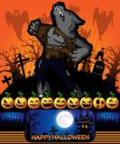 Cartel de Halloween con el hombre lobo Ilustración del vector Fotos de archivo