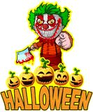 Cartel de Halloween con el payaso que sostiene un cuchillo Imagen de archivo