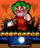 Cartel de Halloween con el payaso que sostiene un cuchillo Ilustración del vector Imagenes de archivo