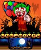Cartel de Halloween con el payaso sosteniendo los globos Illustrat del vector Fotografía de archivo libre de regalías