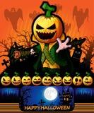 Cartel de Halloween con el personaje de dibujos animados de la calabaza Illustra del vector Fotografía de archivo libre de regalías
