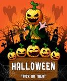 Cartel de Halloween con el personaje de dibujos animados de la calabaza Ilustración del vector Imagenes de archivo