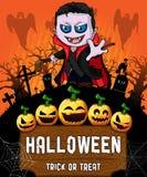 Cartel de Halloween con el vampiro Ilustración del vector imagen de archivo