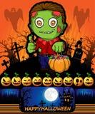 Cartel de Halloween con el zombi Ilustración del vector Fotografía de archivo libre de regalías