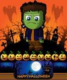 Cartel de Halloween con Frankenstein Ilustración del vector Imágenes de archivo libres de regalías