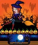 Cartel de Halloween con la bruja Ilustración del vector Imagen de archivo libre de regalías
