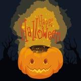 Cartel de Halloween con la calabaza brillante en fondo fantasmagórico Imagen de archivo libre de regalías