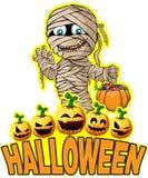 Cartel de Halloween con la momia Fotos de archivo