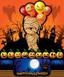 Cartel de Halloween con la momia con los globos Ilustración del vector Imagen de archivo libre de regalías