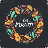 Cartel de Hola México Imagen de archivo libre de regalías