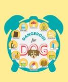 Cartel de Infographic sobre la comida y bocados que son peligrosos para su perro y pueden causar la intoxicación Un sistema de ic Libre Illustration