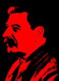 Cartel de Joseph Stalin en colores negros y rojos Imagen de archivo