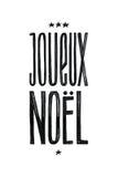 Cartel de Joueux Noel Merry Christmas Retro Vector en francés Diseño monocromático blanco y negro Caligrafía dibujada mano de la  Imagenes de archivo