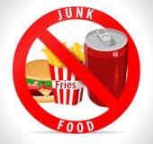 Cartel de Junk Food con los iconos fríos de la bebida de la hamburguesa de las fritadas Fotografía de archivo