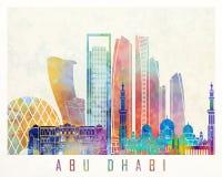 Cartel de la acuarela de las señales de Abu Dhabi V2 Foto de archivo