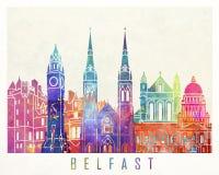 Cartel de la acuarela de las señales de Belfast Imágenes de archivo libres de regalías
