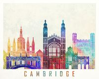 Cartel de la acuarela de las señales de Cambridge Fotos de archivo