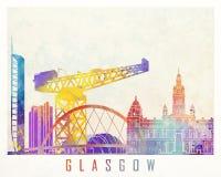 Cartel de la acuarela de las señales de Glasgow Fotografía de archivo