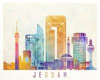Cartel de la acuarela de las señales de Jedda Imagen de archivo
