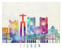 Cartel de la acuarela de las señales de Lisboa Imágenes de archivo libres de regalías