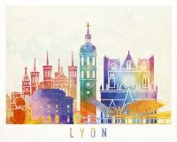 Cartel de la acuarela de las señales de Lyon Imágenes de archivo libres de regalías