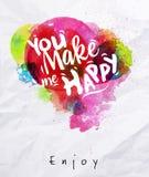Cartel de la acuarela usted me hace feliz Imagen de archivo libre de regalías