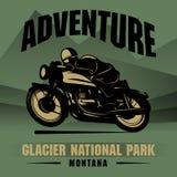 Cartel de la aventura de la motocicleta Imagenes de archivo