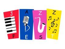 Cartel de la bandera del festival de música de jazz ilustración del vector