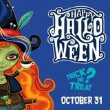Cartel de la bruja de Halloween del vector con las letras Foto de archivo