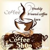 Cartel de la cafetería en estilo del vintage del grunge con la taza de recientemente Imagen de archivo libre de regalías