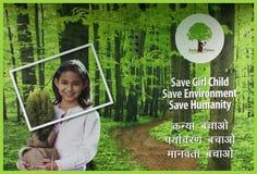 Cartel de la calle del gobierno indio para proteger a las muchachas f Imágenes de archivo libres de regalías