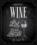Cartel de la carta de vinos del vintage - pizarra. Imagen de archivo libre de regalías