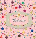 Cartel de la celebración del cumpleaños Ideal para la tarjeta del club Imagenes de archivo
