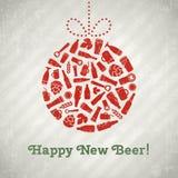 Cartel de la cerveza de la bola de la Navidad del vector Imagen de archivo libre de regalías