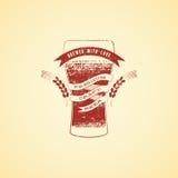 Cartel de la cerveza del estilo del grunge del vintage Bandera con el vidrio de cerveza Ilustración del vector Imágenes de archivo libres de regalías