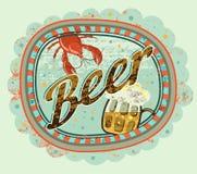Cartel de la cerveza del estilo del grunge del vintage Etiqueta de la cerveza con el cáncer y una taza de cerveza Ilustración del Fotografía de archivo