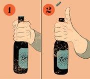 Cartel de la cerveza del estilo del grunge del vintage Instrucción chistosa del cartel para abrir una botella de cerveza Control  Foto de archivo