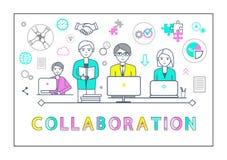 Cartel de la colaboración con vector de los ordenadores portátiles de los trabajadores stock de ilustración