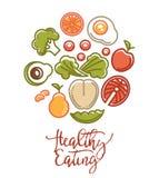 Cartel de la comida de la aptitud de los iconos de la nutrición de la comida de la dieta sana de los deportes ilustración del vector