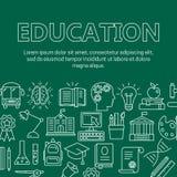 Cartel de la educación con la línea iconos stock de ilustración
