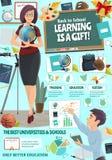 Cartel de la educación del profesor de escuela y del muchacho de universidad libre illustration