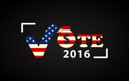 Cartel de la elección presidencial de los 2016 E.E.U.U. con el bolso del dinero Imagen de archivo libre de regalías