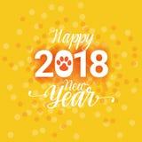 Cartel de la Feliz Año Nuevo 2018 con el fondo de Paw Sign Abstract Greeting Card del perro Fotos de archivo
