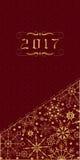 Cartel de la Feliz Año Nuevo con los ornamentos en fondo rojo Vector Fotos de archivo