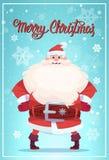 Cartel de la Feliz Navidad con Santa Claus Winter Holiday Banner Design Fotos de archivo