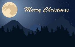 Cartel de la Feliz Navidad Luna, estrellas y árboles Foto de archivo